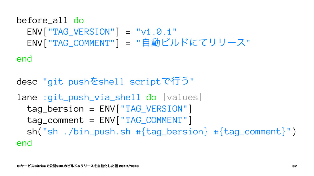 "before_all do ENV[""TAG_VERSION""] = ""v1.0.1"" ENV..."