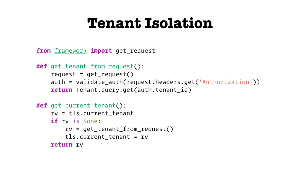 Tenant Isolation from framework import get_requ...