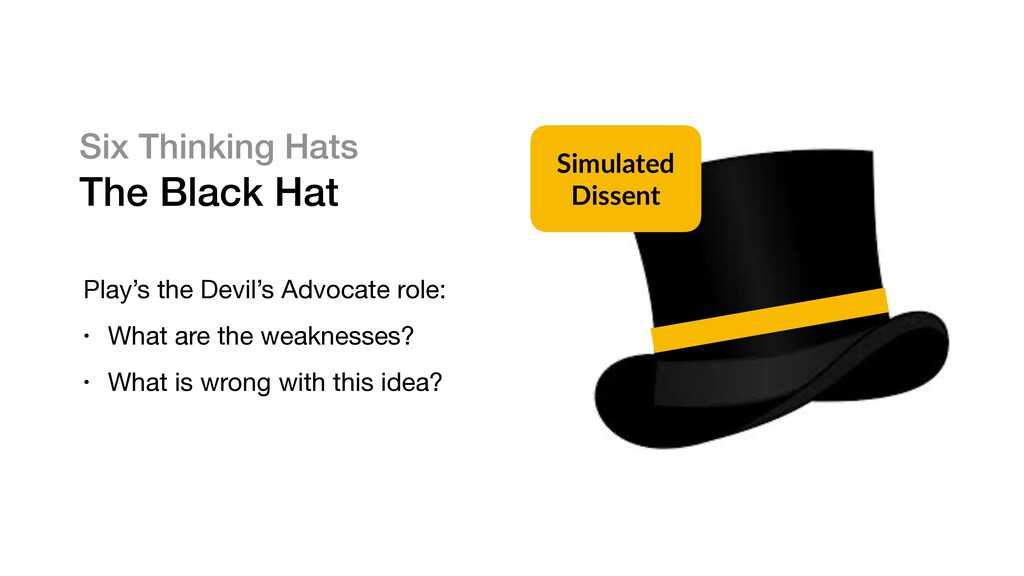 Six Thinking Hats The Black Hat Play's the Devi...