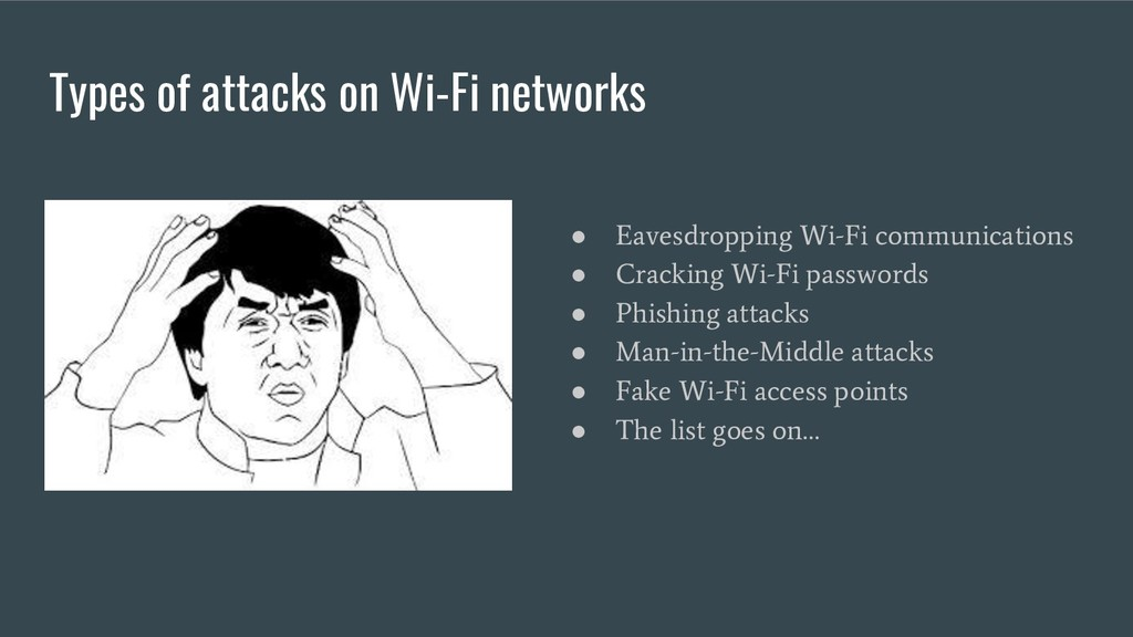 Types of attacks on Wi-Fi networks ● Eavesdropp...