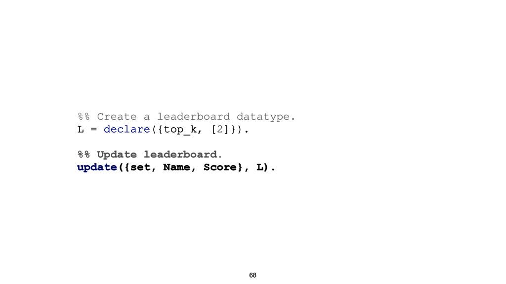68 %% Create a leaderboard datatype. L = declar...