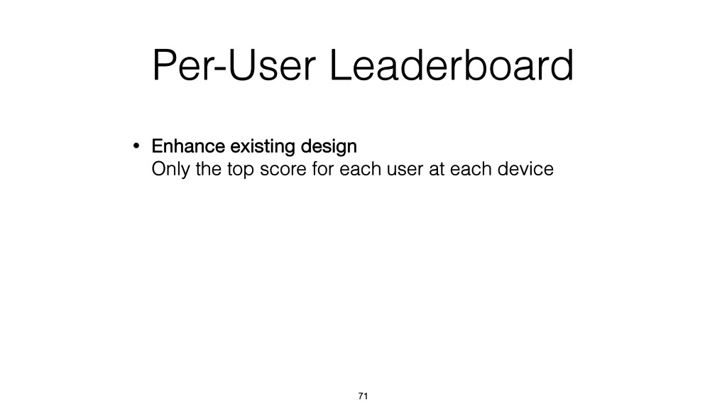 Per-User Leaderboard • Enhance existing design