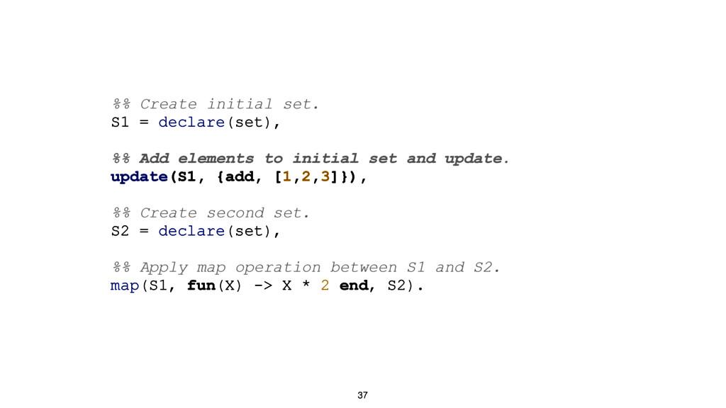 37 %% Create initial set. S1 = declare(set), %%...