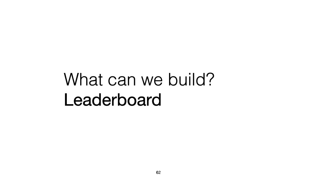 What can we build? Leaderboard 62