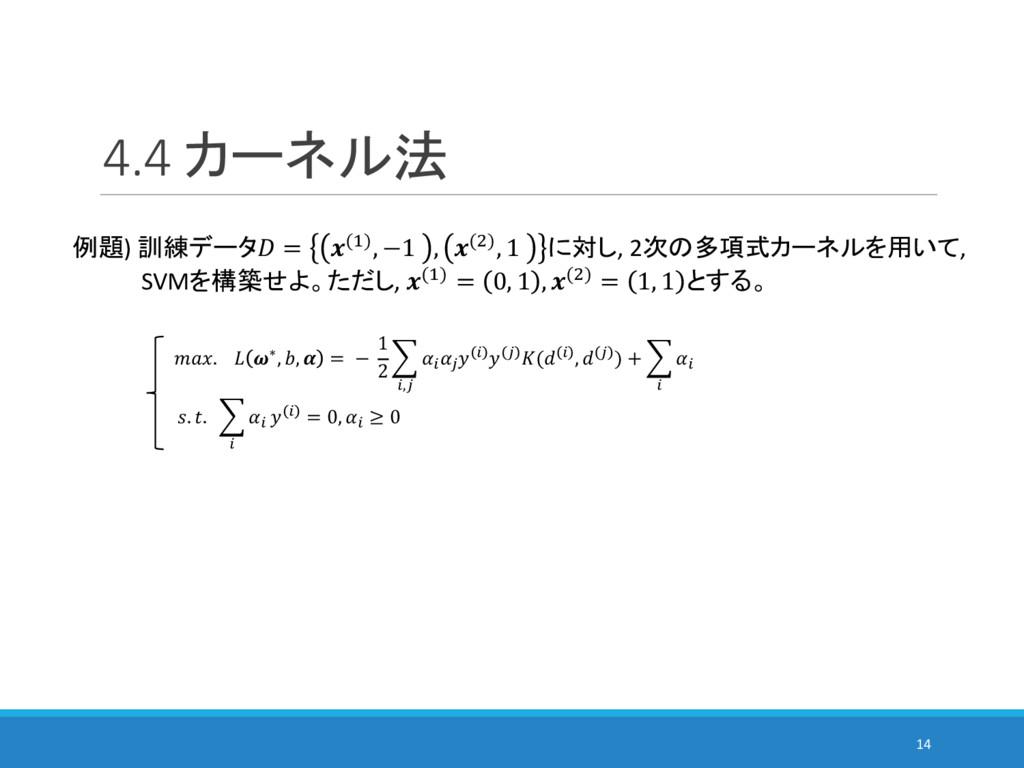 4.4 カーネル法 14 例題) 訓練データ = (%), −1 , ()), 1 に対し, ...