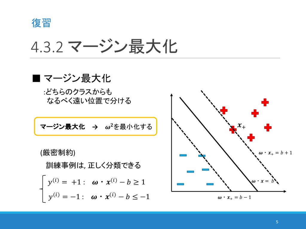 4.3.2 マージン最大化 5 ■ マージン最大化 :どちらのクラスからも なるべく遠い位置で...