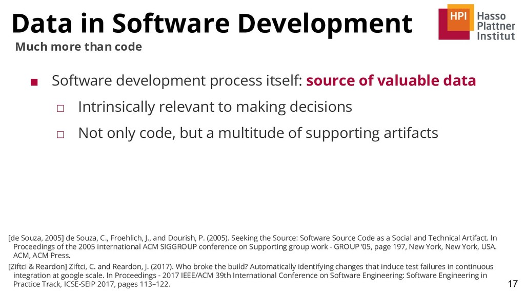 Data in Software Development 17 Much more than ...