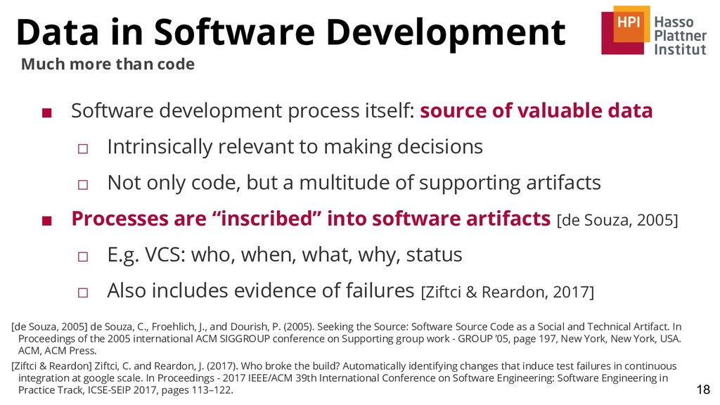 Data in Software Development 18 Much more than ...