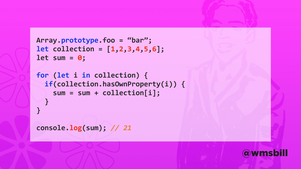 "Array.prototype.foo = ""bar""; let collection = [..."