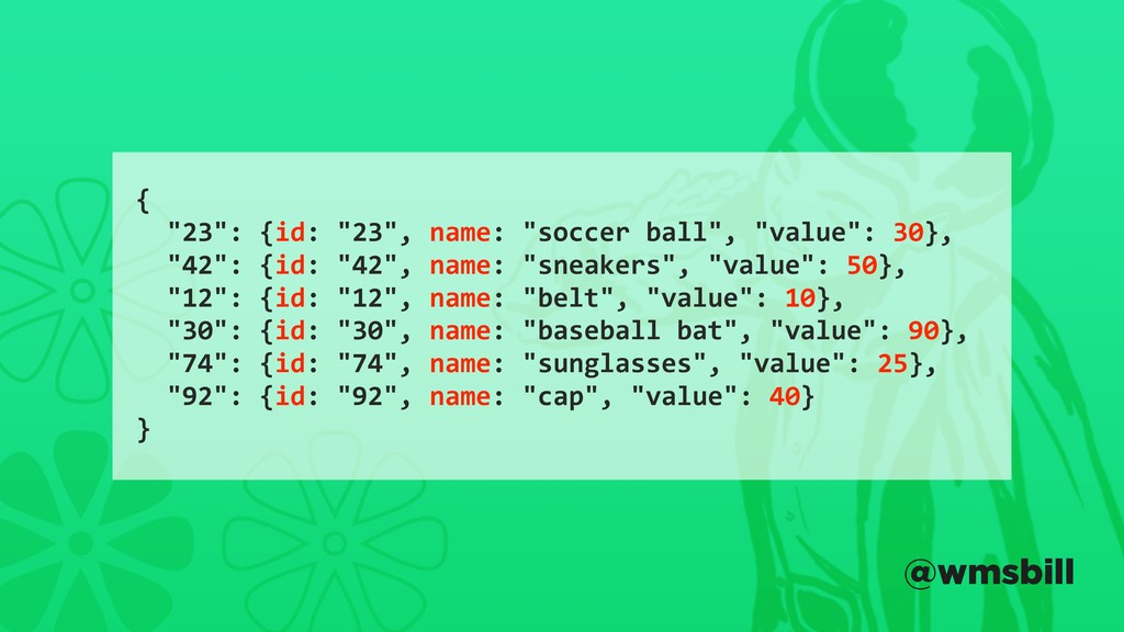 "{ ""23"": {id: ""23"", name: ""soccer ball"", ""value""..."