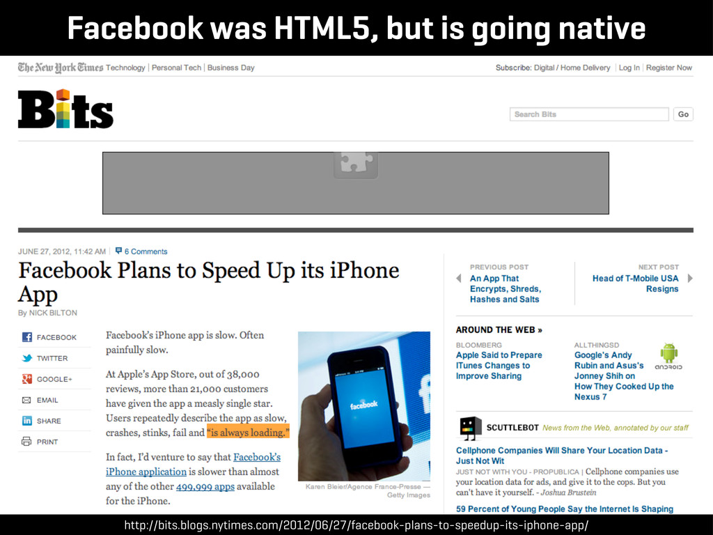 Facebook was HTML5, but is going native http://...