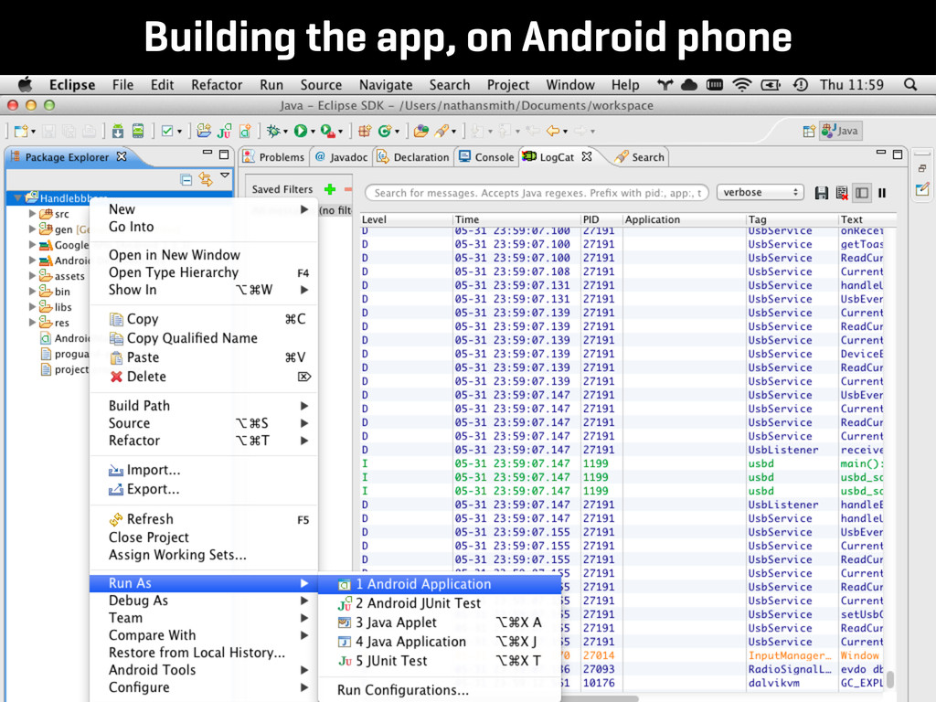 Building the app, on Android phone