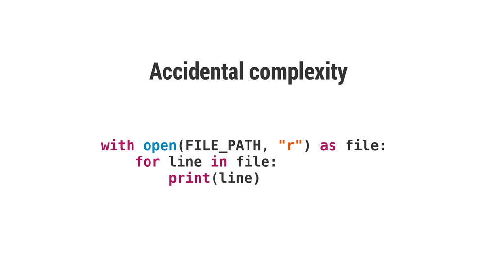 "with open(FILE_PATH, ""r"") as file: for line in ..."