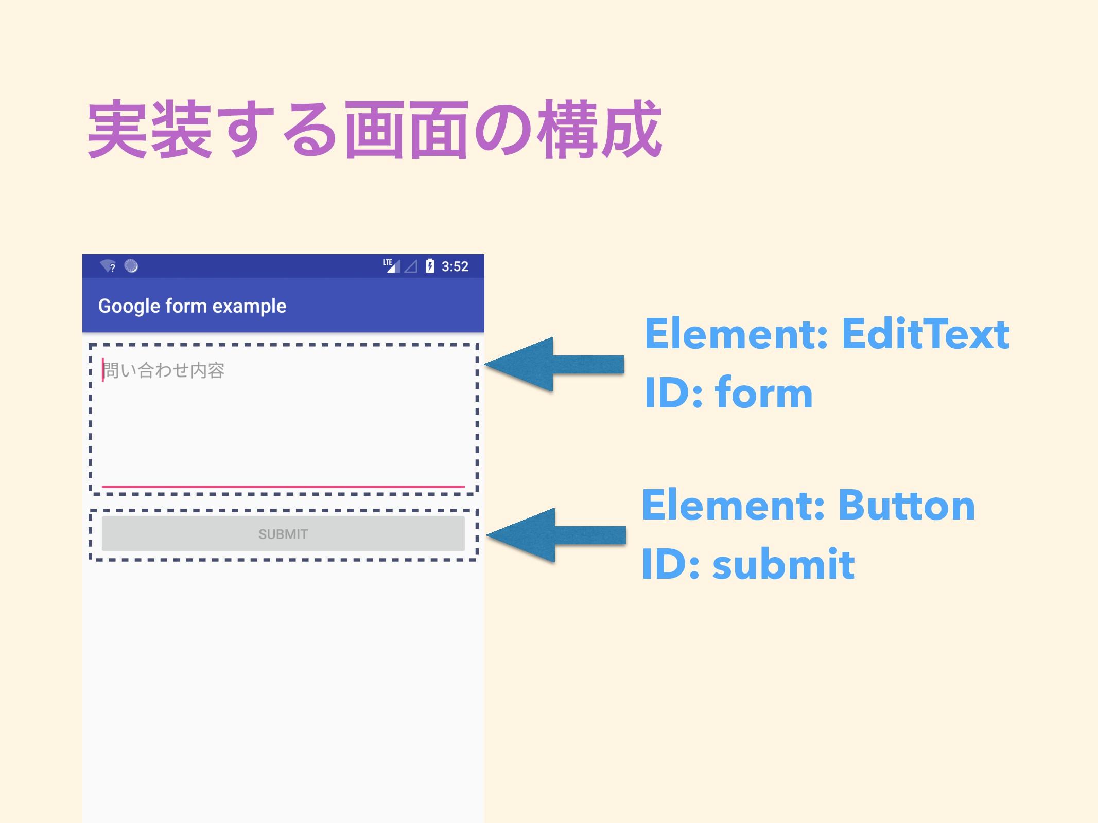 ࣮͢Δը໘ͷߏ Element: EditText ID: form Element: ...