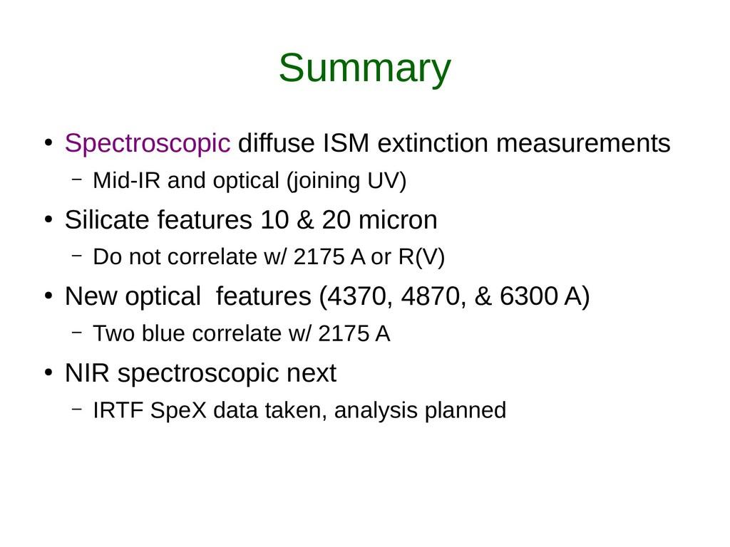 Summary ● Spectroscopic diffuse ISM extinction ...