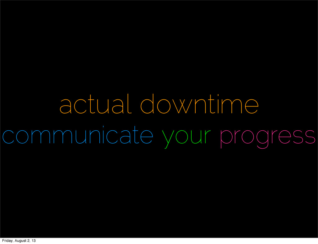 actual downtime communicate your progress Frida...