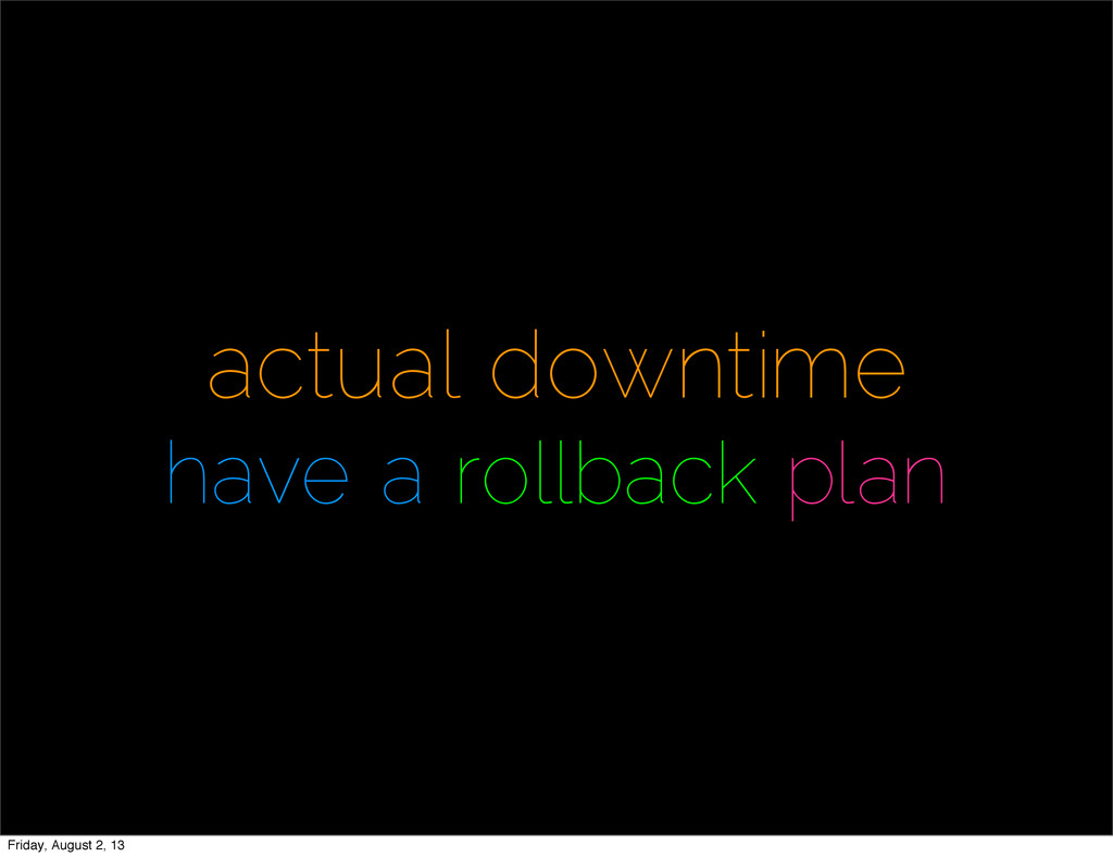 actual downtime have a rollback plan Friday, Au...