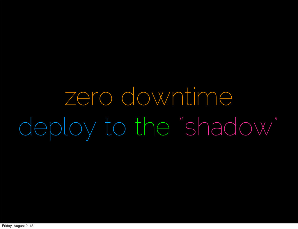 """zero downtime deploy to the """"shadow"""" Friday, Au..."""