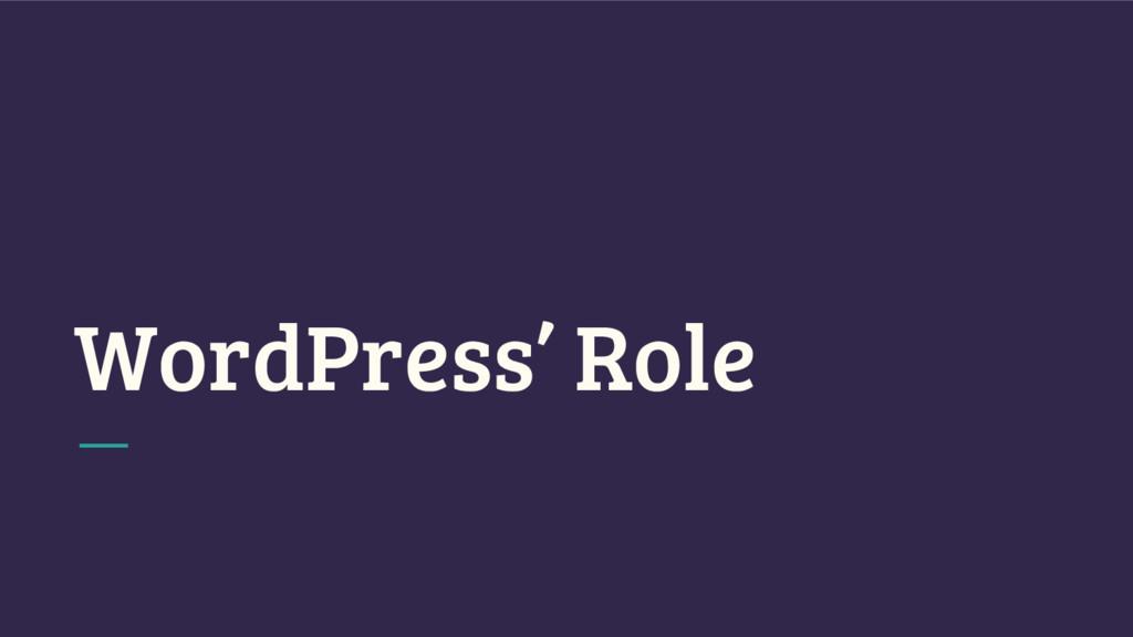 WordPress' Role