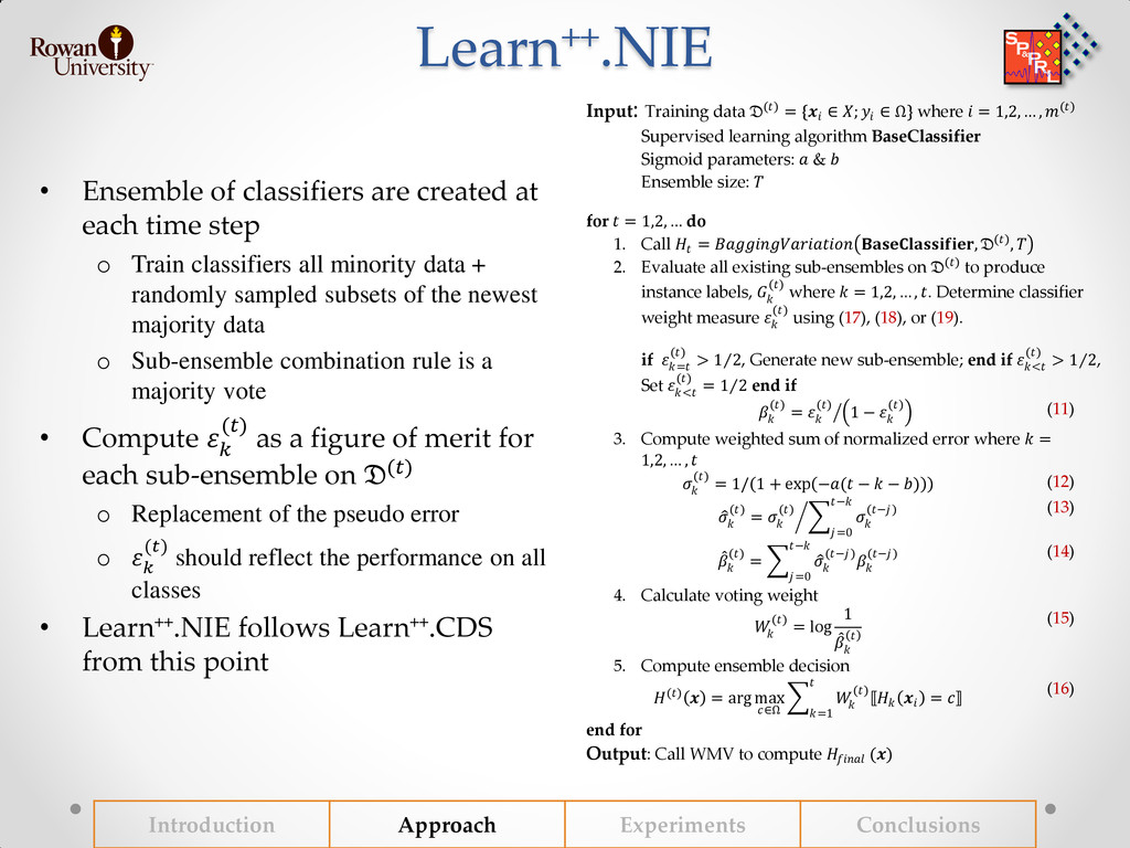 Learn++.NIE • Ensemble of classifiers are creat...