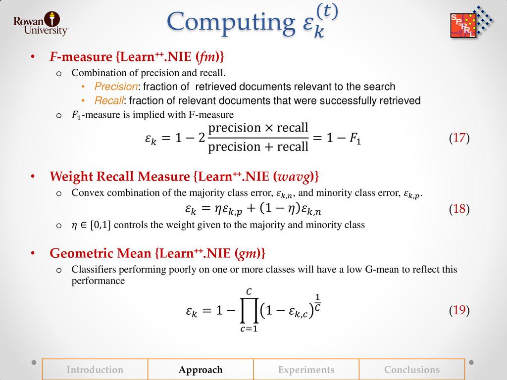 Computing   () • F-measure {Learn++.NIE (fm)} o...