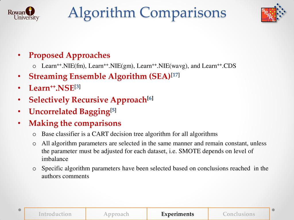 Algorithm Comparisons • Proposed Approaches o L...