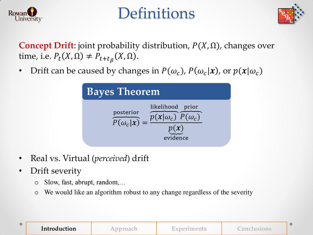 Definitions Concept Drift: joint probability di...