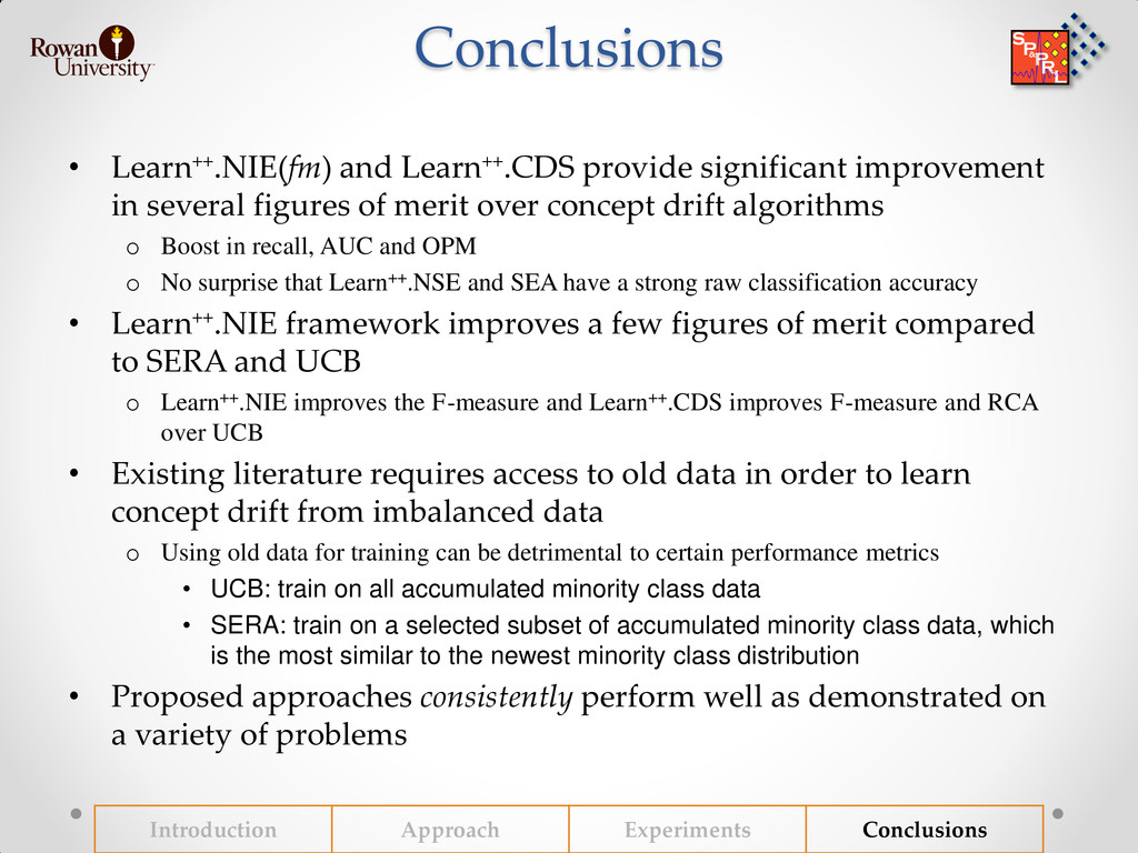 Conclusions • Learn++.NIE(fm) and Learn++.CDS p...