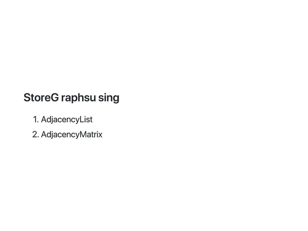 Store Graphs using 1. Adjacency List 2. Adjacen...