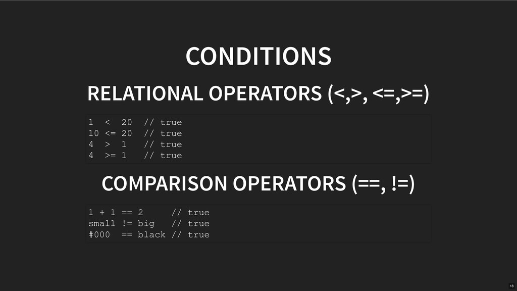 CONDITIONS RELATIONAL OPERATORS (<,>, <=,>=) CO...