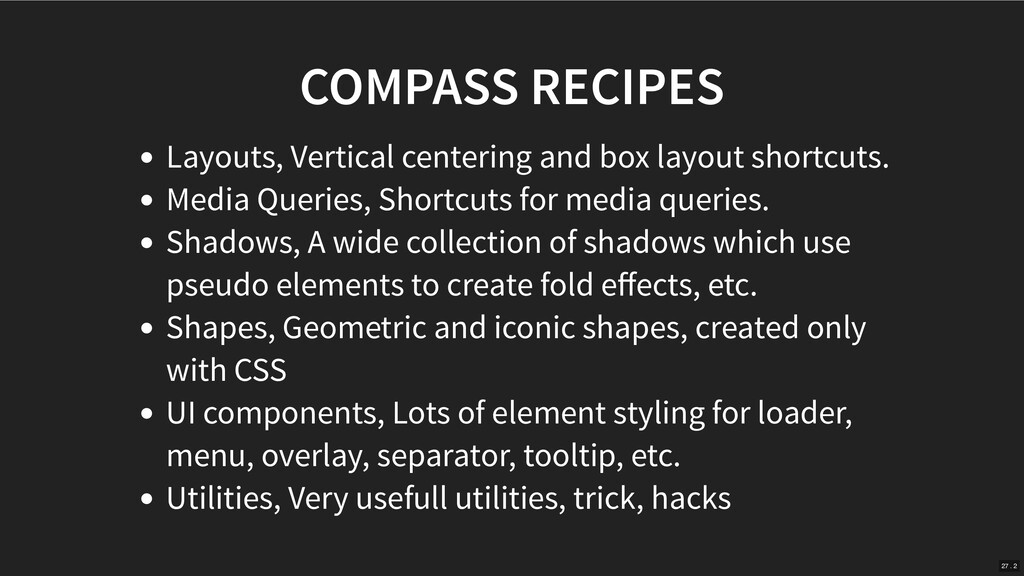 COMPASS RECIPES Layouts, Vertical centering and...