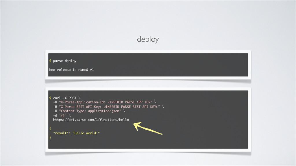 $ parse deploy New release is named v1 $ curl -...
