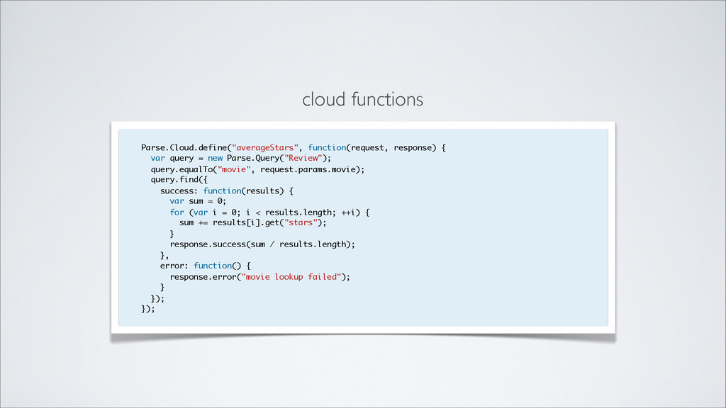 "cloud functions Parse.Cloud.define(""averageStar..."