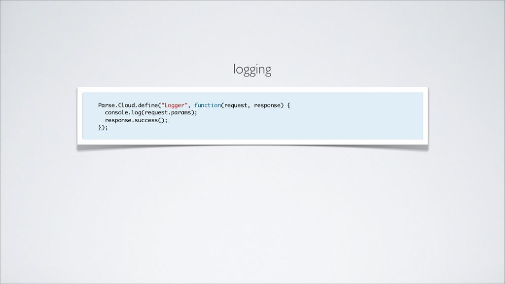 "logging Parse.Cloud.define(""Logger"", function(r..."