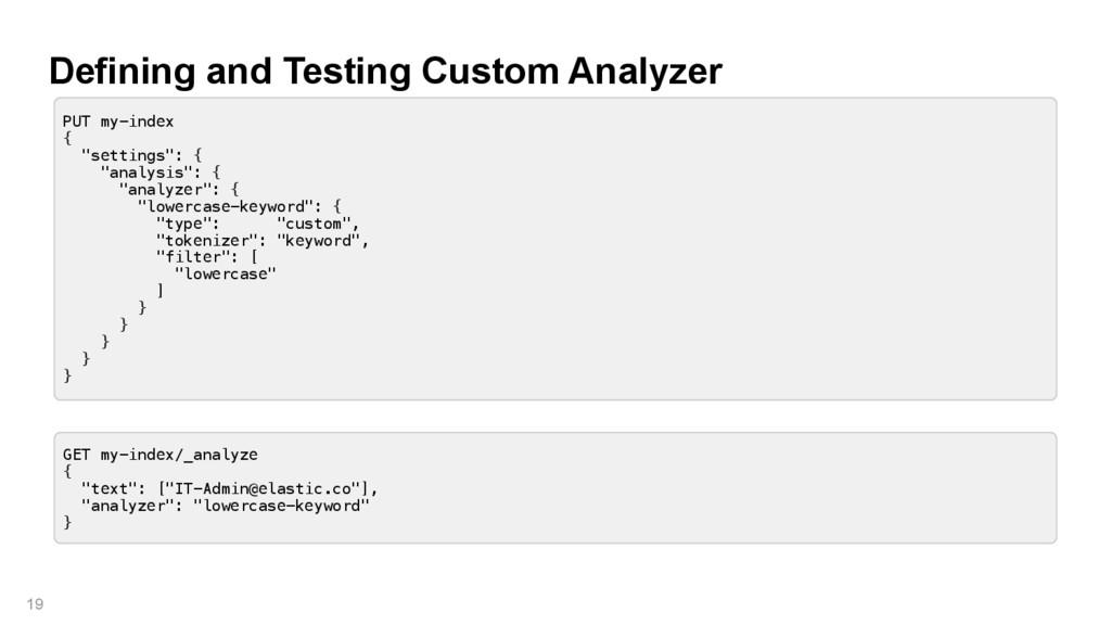 Defining and Testing Custom Analyzer 19 PUT my-...