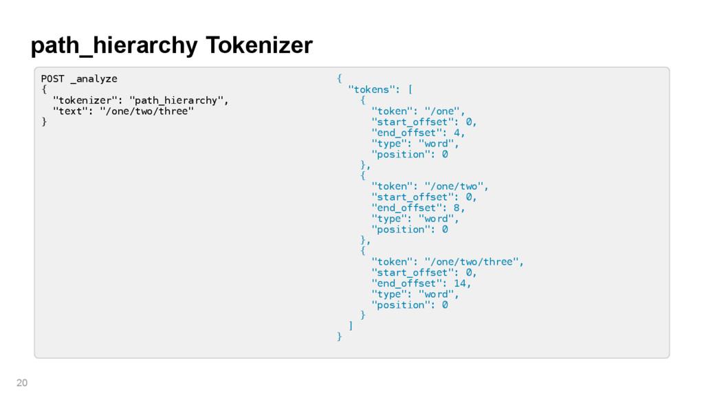 """path_hierarchy Tokenizer 20 POST _analyze { """"to..."""