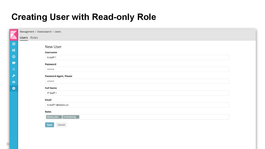 Creating User with Read-only Role 30