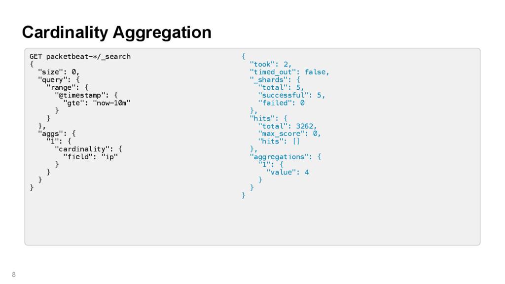 Cardinality Aggregation 8 GET packetbeat-*/_sea...