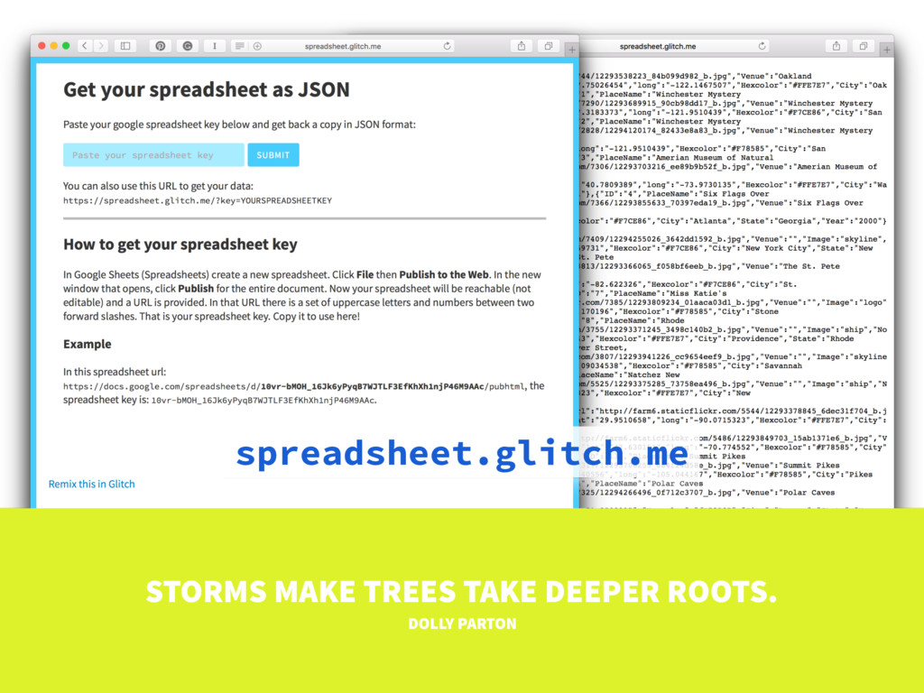 spreadsheet.glitch.me STORMS MAKE TREES TAKE DE...