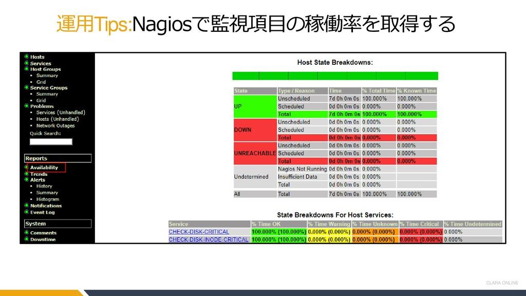 CLARA ONLINE 運用Tips:Nagiosで監視項目の稼働率を取得する