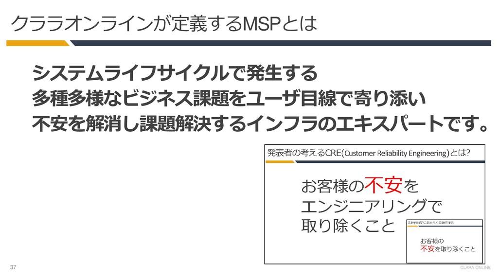 37 CLARA ONLINE クララオンラインが定義するMSPとは システムライフサイクルで...