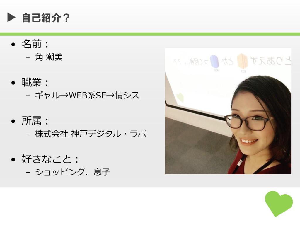 • 名前: – 角 潮美 • 職業: – ギャル→WEB系SE→情シス • 所属: – 株式会...