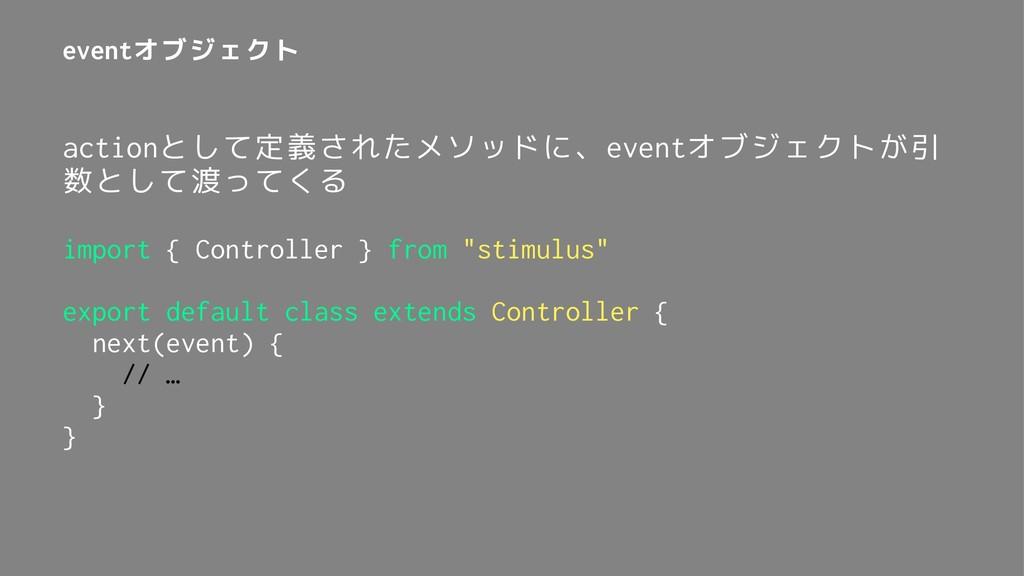 eventオブジェクト actionとして定義されたメソッドに、eventオブジェクトが引 数...