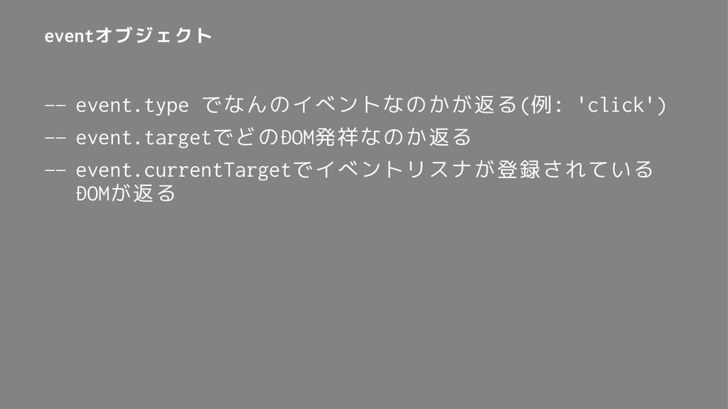eventオブジェクト — event.type でなんのイベントなのかが返る(例: 'cli...
