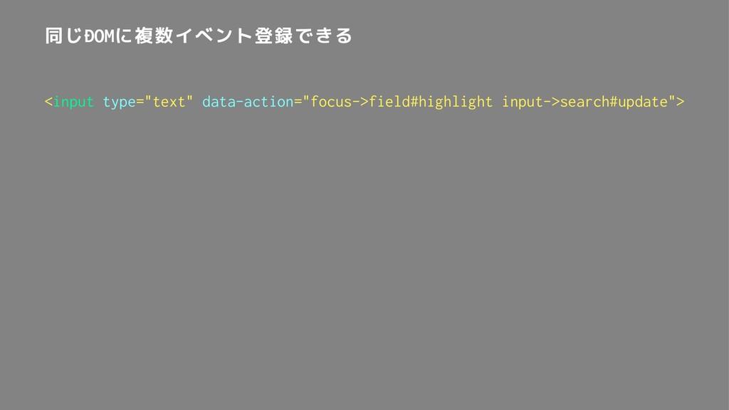 """同じDOMに複数イベント登録できる <input type=""""text"""" data-actio..."""