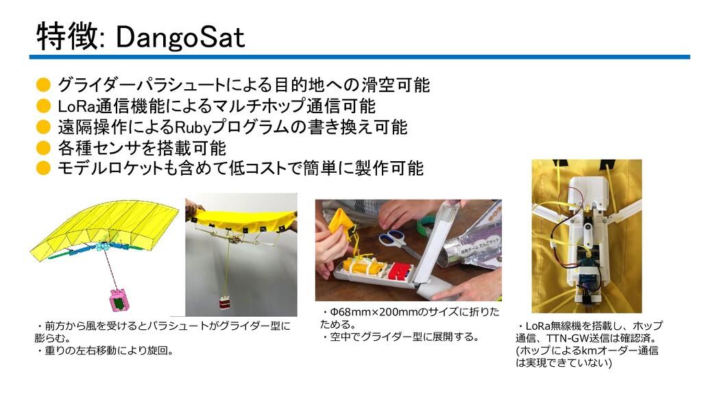 特徴: DangoSat ● グライダーパラシュートによる目的地への滑空可能 ● LoRa通信...