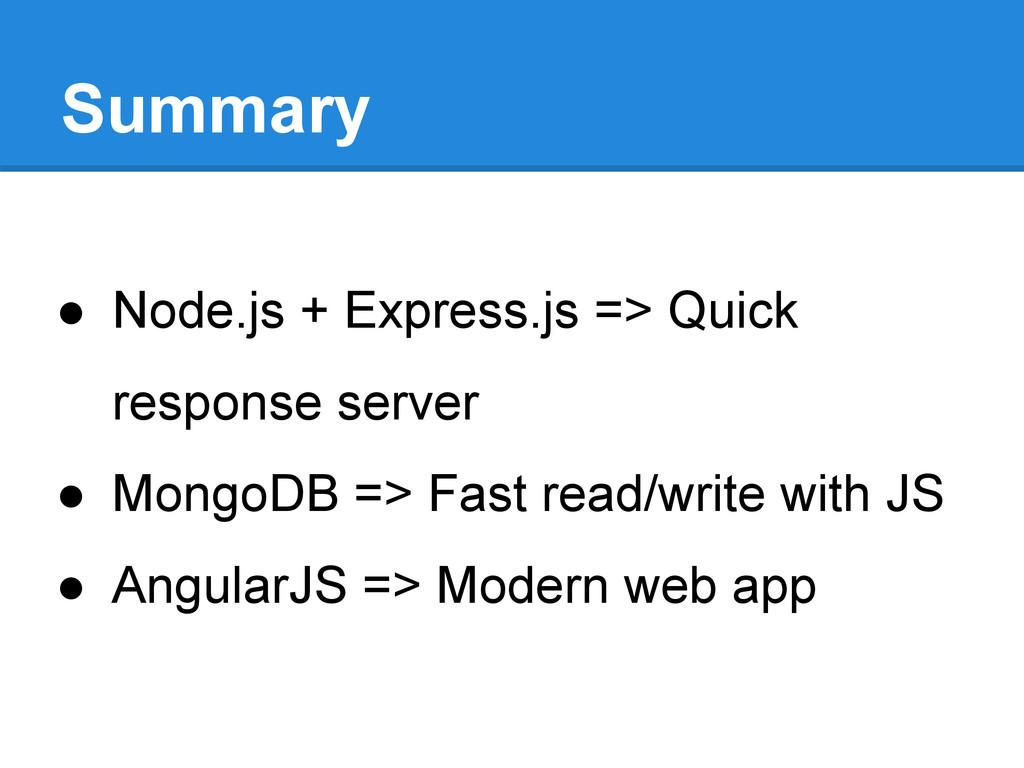 Summary ● Node.js + Express.js => Quick respons...