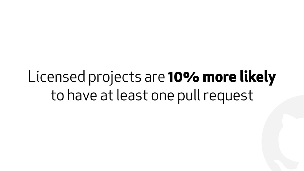 ! Licensed projects are 10% more likely to have...