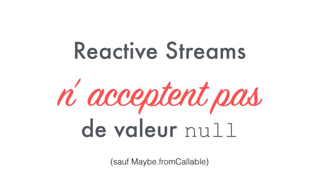 Reactive Streams n' acceptent pas de valeur nul...