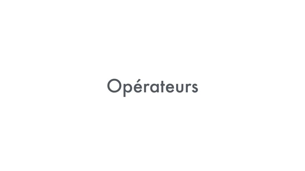 Opérateurs
